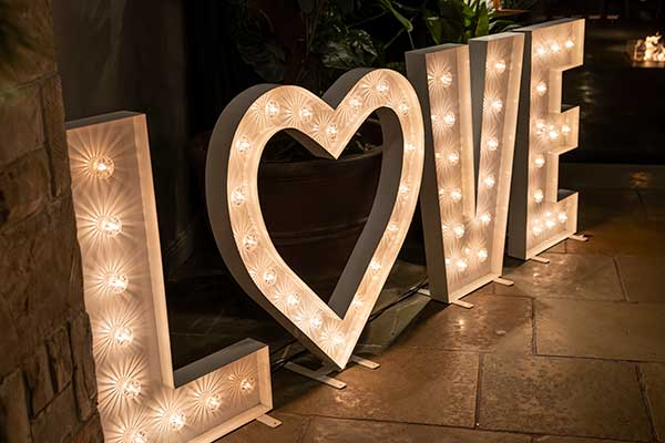 The Boogie Knight Giant LOVE Letters Hire